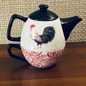NWOT VTG Cracker Barrel Rooster Tea Pot & Cup